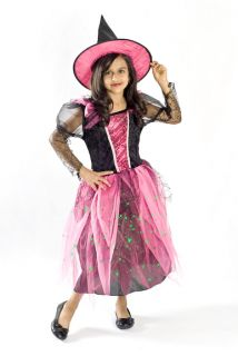 Girls Kids Dress up halloween costume Magenta witch Light up Size T S