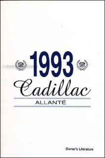 Allante Owners Manual 93 New Owner Literature Guide Book