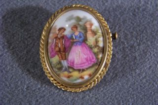 Antique Hand Paint Porcelain Limoges Oval Pin Brooch