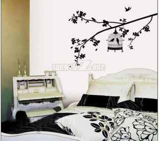 Black BIRD CAGE WALL PEEL STICK Living Room Wallpaper DECO STICKER hot