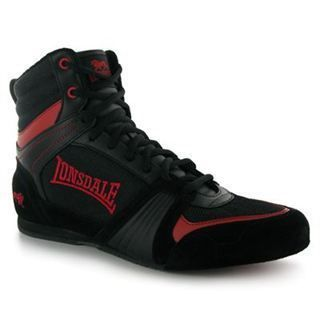 Lonsdale Leather Mens Boxing Boots Black Shoes UK 9