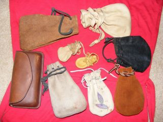 Lot of Eight Vintage Leather Pouches Large to Small A Case
