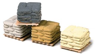 HO Scale 12 Pallets of Colored Sacks Painted