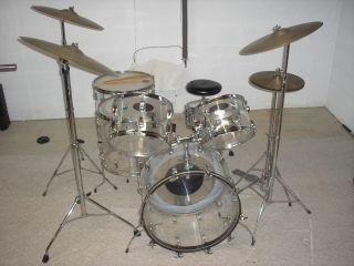 Vintage Ludwig Vistalite Clear Drum Set Early 70s Zildjian Cymbals