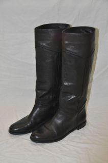 Excellent condition VIA SPIGA Black Leather Boots Flat Patent Details