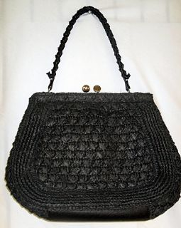 Luana Black Satchel Handbag Purse Woven Straw Tote