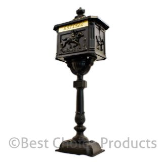 Mailbox Cast Aluminum Black Mail Box Postal Box Security Heavy Duty