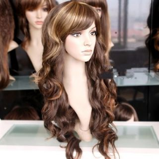 60cm Hot New Sexy Long Curly Natural Brown Human Made Hair Wig