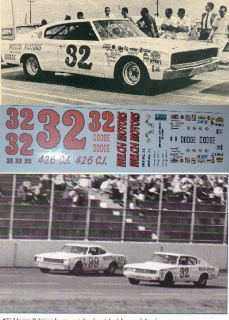 Marty Robbins #32 Welch Motors 1967 Dodge Charger 1/24 scale decals