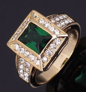 Jewelry Mans Green Emerald 10KT Yellow Gold Filled Ring Size 10 Gift