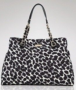 NWT Kate Spade Maryanne On The Ave Black Cream Leopard Animal Print