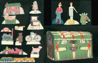 Marshall Fields Treasure Chest Paper Toy Advertisement 1925 w Paper