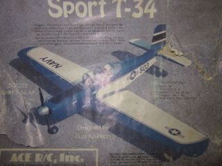 Sport T 34 Ace Radio Control Model Airplane Kit 1980s New Unassembled