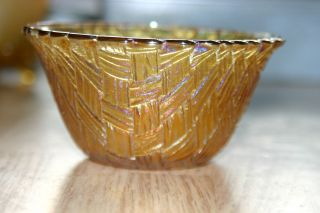 Carnival Glass Dessert Bowl Merigold Yellow Basket Weave Bowl