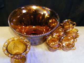 Vintage Carnival Glass Harvest Grape Merigold 14 P Punch Bowl Set Free