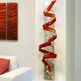 Large Modern Abstract Red Metal Wall Art Office Decor Sculpture