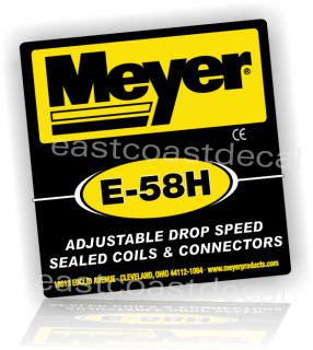 Meyer Snow Plow E58H Replacement Decal for Meyer E58 Pump E 58H Blk
