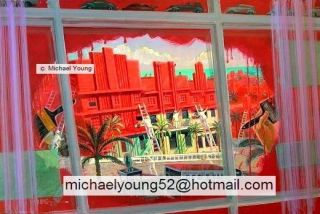 Red Original Painting Michael Young Art Deco Play on Words Fun