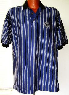 Cutter & Buck Metairie C. C. Mens Navy Striped Golf Polo Shirt Size L
