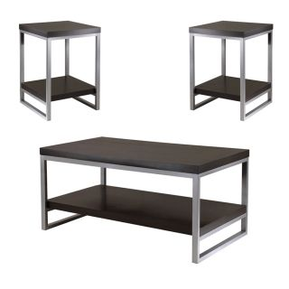 Black Modern Style Square End Tables Coffee Table Set Metal MDF