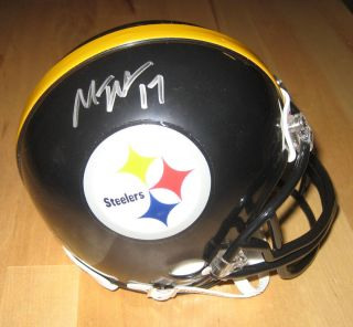 Mike Wallace NFL Pittsburgh Steelers Autographed Mini Helmet Global