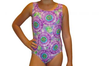 New girls gymnastic leotard purple tyedye peace print