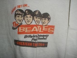 THE BEATLES REPRO VINTAGE 1964 TOUR T SHIRT JOHN PAUL GEORGE AND RINGO
