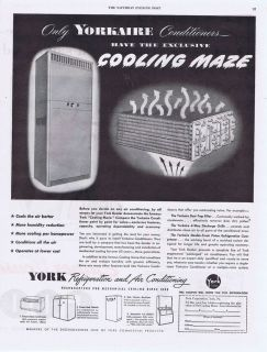 1949 ^VINTAGE AD   YORK AIR CONDITIONING AND REFRIGERATION 5 7