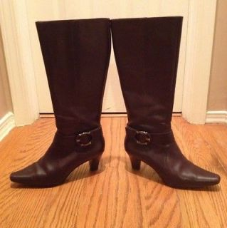 Anne Klein AKGAM Womens Dark Brown Leather Knee High Boots Size 7M
