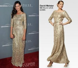 Gold Sequin Lace Gown Size 8 $650 Current Seen on Odette Annable