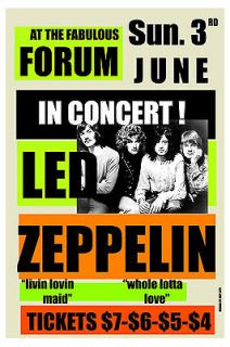 Classic Rock Led Zeppelin at the Forum in Los Angeles Concert Poster