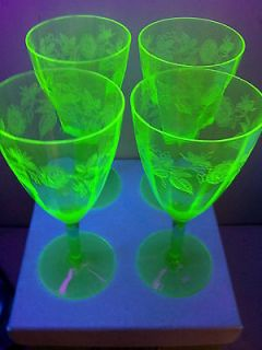 Set of 4 Antique URANIUM DEPRESSION GLASS WINE GLASSES Stems ETCHED