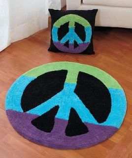 PEACE SIGN ROOM ACCENTS   AREA RUG or PILLOW   MULTI COLORED