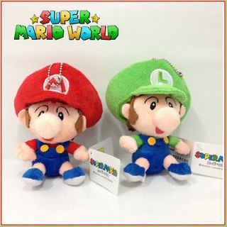 2X Super Mario Bros World Soft Toy Plush Baby Mario Luigi Stuffed