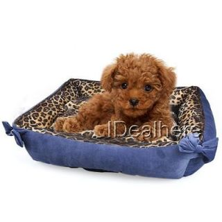 Royal Blue Leopard New Pet Dog Cat Faux Fur Soft Bed Sleep Accessories