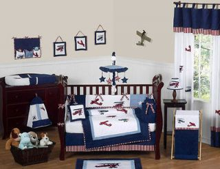 AIRPLANE PLANES 9pc BABY BOY CRIB COMFORTER BEDDING SET FOR NEWBORN