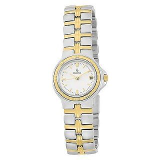 BULOVA WOMENS $250 TWO TONE WHITE DIAL GOLD TONE HANDS DATE WATCH