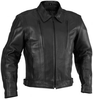 NEW RIVER ROAD MENS CRUISER LEATHER MOTORCYLE JACKET, BLACK, US 52