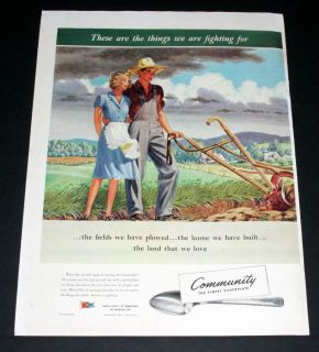 1943 OLD WWII MAGAZINE PRINT AD  COMMUNITY SILVERPLATE, FARMING FIELD