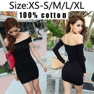 Shoulder Stretch Tunic Tight Fitted Clubwear Party Bodycon Mini Dress