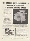 1960 BRIGGS & STRATTON 4 STROKE ENGINE Advertisement STATIONARY MOTOR