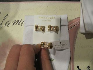 Kate Spade Moon River Pave Earrings and Ring sz 8 Set Gold Bow