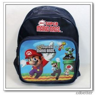 New Dark Blue Super Mario Bros Kids Schoolbag Rucksack Backpack