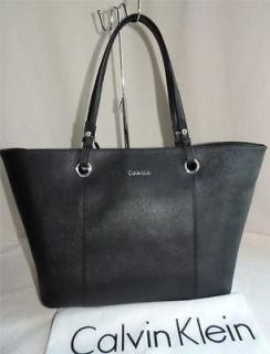 calvin klein black leather tote