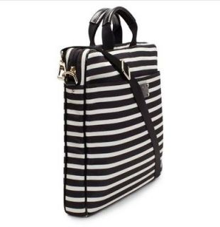NWT KATE SPADE NYLON STRIPE CHAD LAPTOP BAG BLACK/CREAM 100% AUTHENTIC