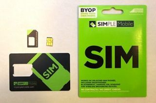 NEW Simple Mobile NANO Sim Card (CUT) Activation Kit GSM TMOBILE