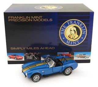 FRANKLIN MINT 1966 FORD SHELBY COBRA BLUE / GOLD STRIPES 124 DIECAST