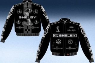 2012 Carroll Shelby Cobra Black Gray Adult Mens Jacket Coat Racing