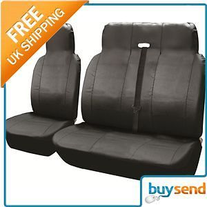 Black Universal Leather Look Car Van Seat Chair Protector Covers Set