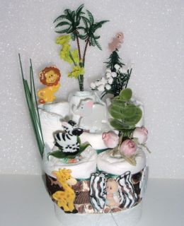 layer baby shower diaper cake monkey jungle safari centerpiece L@@K